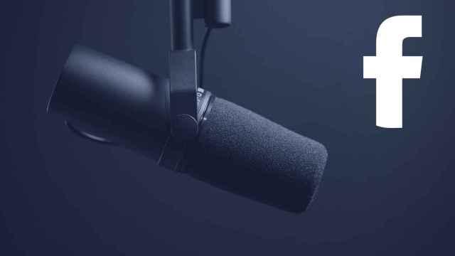 Micrófono junto al logo de Facebook.