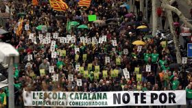 Manifestación en Barcelona a favor de la inmersión lingüística en 2018.