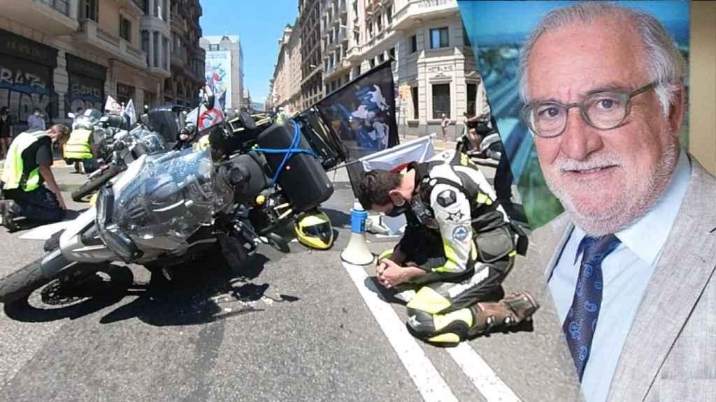 A la izquierda, una imagen de la manifestación del pasado 13 de junio. A la derecha, Pere Navarro.