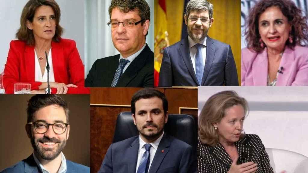 Teresa Ribera, Álvaro Nadal, Alberto Nadal, María Jesús Montero, Joan Groizard, Alberto Garzón y Nadia Calviño.