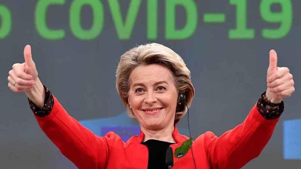 Ursula von der Leyen, presidenta de la Comisión Europea, durante la presentación del pasaporte Covid.
