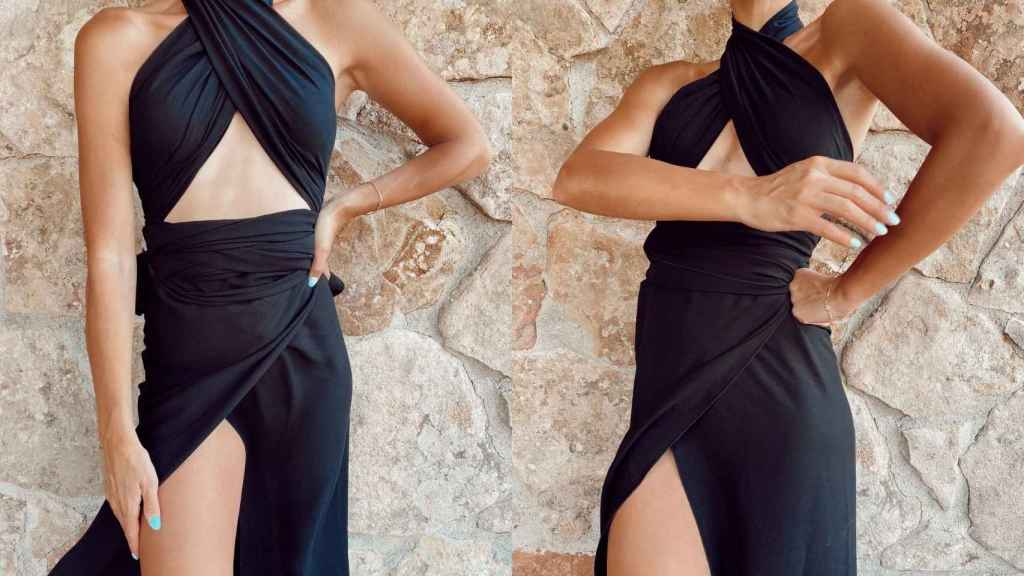El 'look' elegido por Laura Matamoros es de la firma Alma Primero.