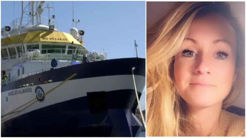 A la izquierda, el buque Ángeles Alvariño y, a la derecha, Beatriz, la madre de las niñas asesinadas.
