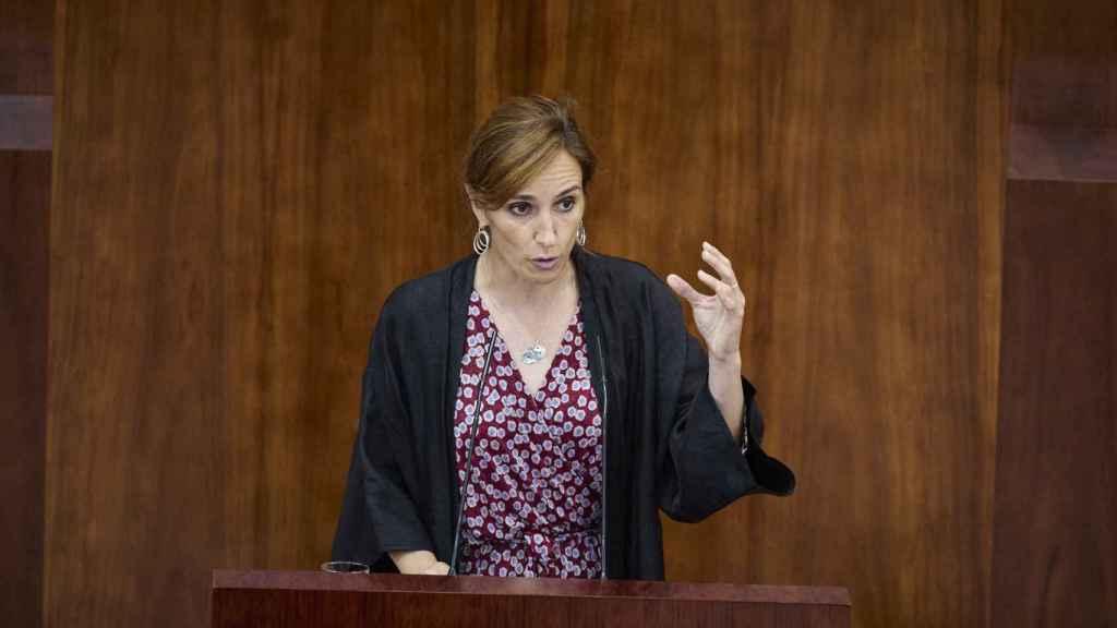 La portavoz de Más Madrid en la Asamblea, Mónica García, interviene en la segunda sesión del pleno de investidura.
