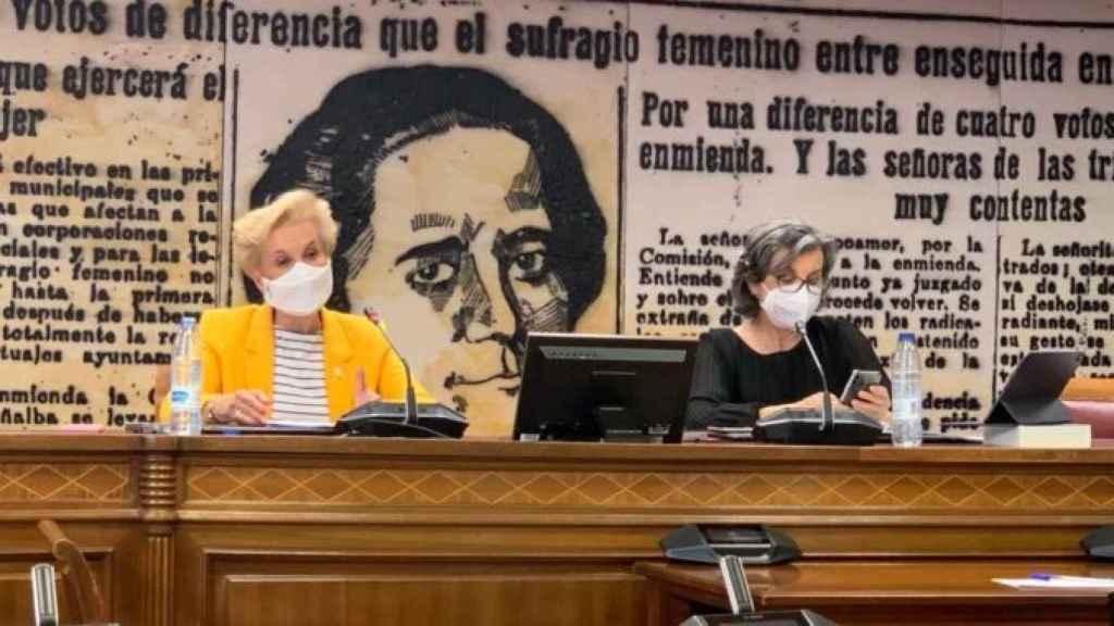 Carmen Quintanilla, presidenta de Afammer en el Senado hablando de violencia de género en el medio rural.