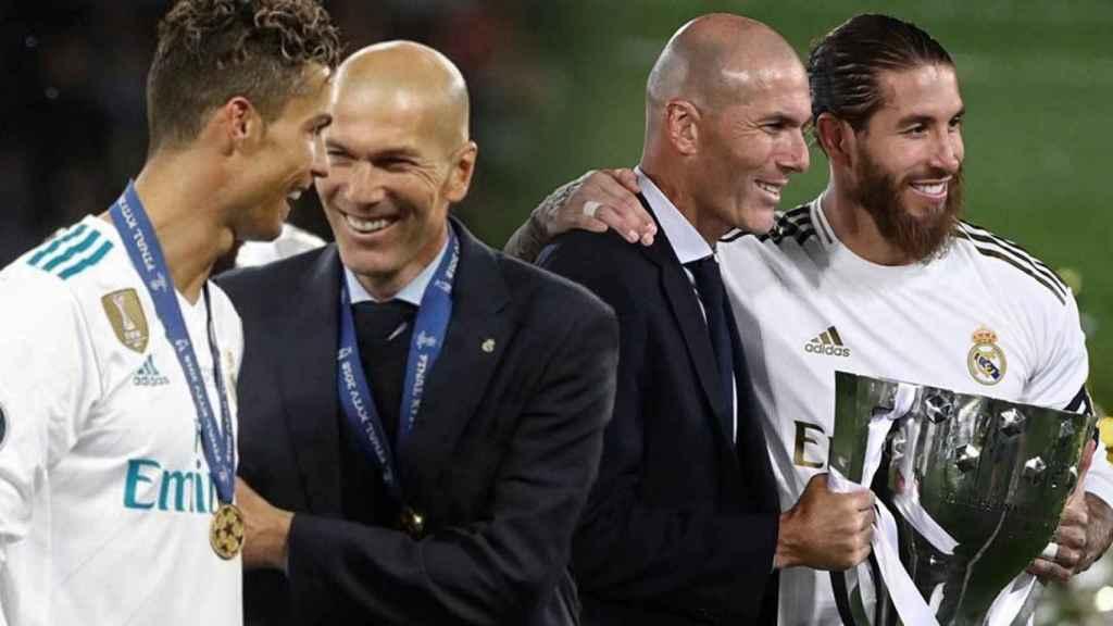 Zidane junto a Cristiano Ronaldo y Sergio Ramos