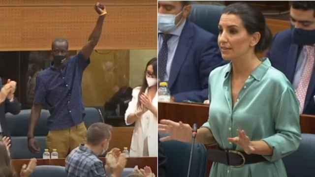 Los diputados Serigne Mbayé (Podemos) y Rocío Monasterio (Vox).