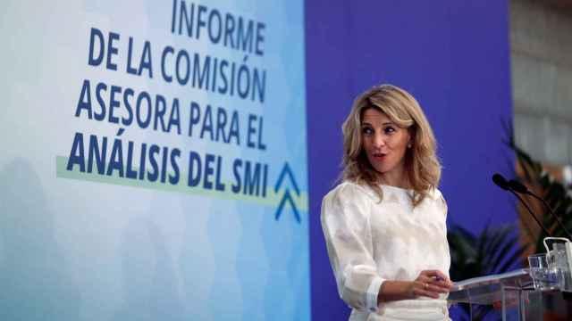 Yolanda Díaz, vicepresidenta tercera y ministra de Trabajo, en la presentación del informe sobre el SMI.
