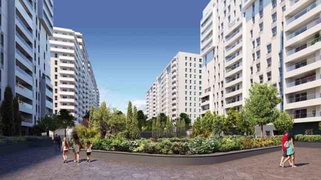 Figuración de Turianova, el nuevo barrio que AQ Acentor construye en Valencia. EE