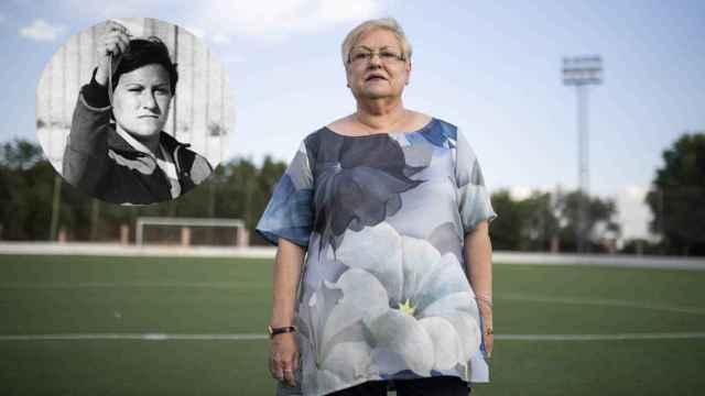 Rosa Bonet en el campo de fútbol de Cotorruelo de Madrid. A la izquierda, una imagen en su primer partido de prácticas en 1979.