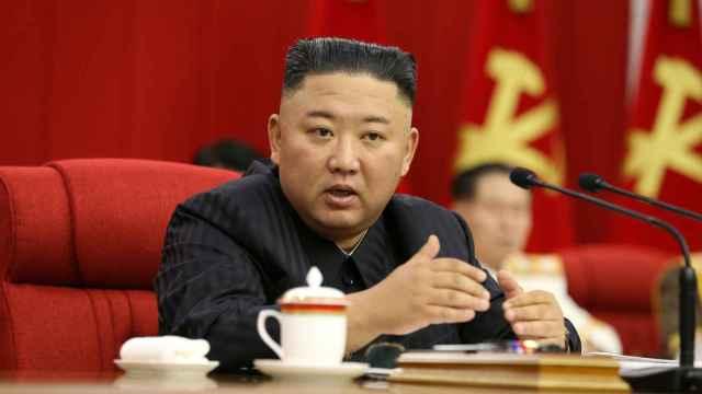 Kim Jong-Un en una rueda de prensa.