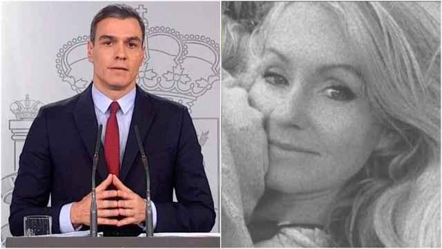 A la izquierda, Pedro Sánchez, presidente del Gobierno y, a la derecha, Beatriz, la madre de las niñas asesinadas.