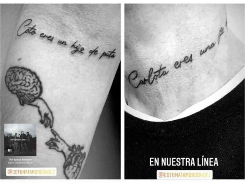 Carlota Prado y Coto Matamoros se tatúan lo mismo.