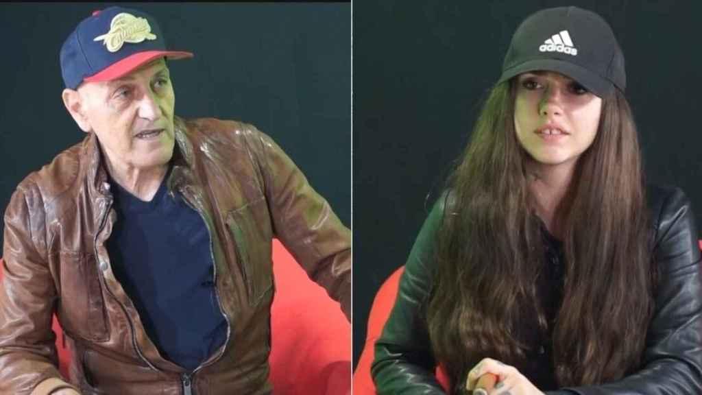 Carlota Prado y Coto Matamoros fumando un puro mientras hacían la entrevista.