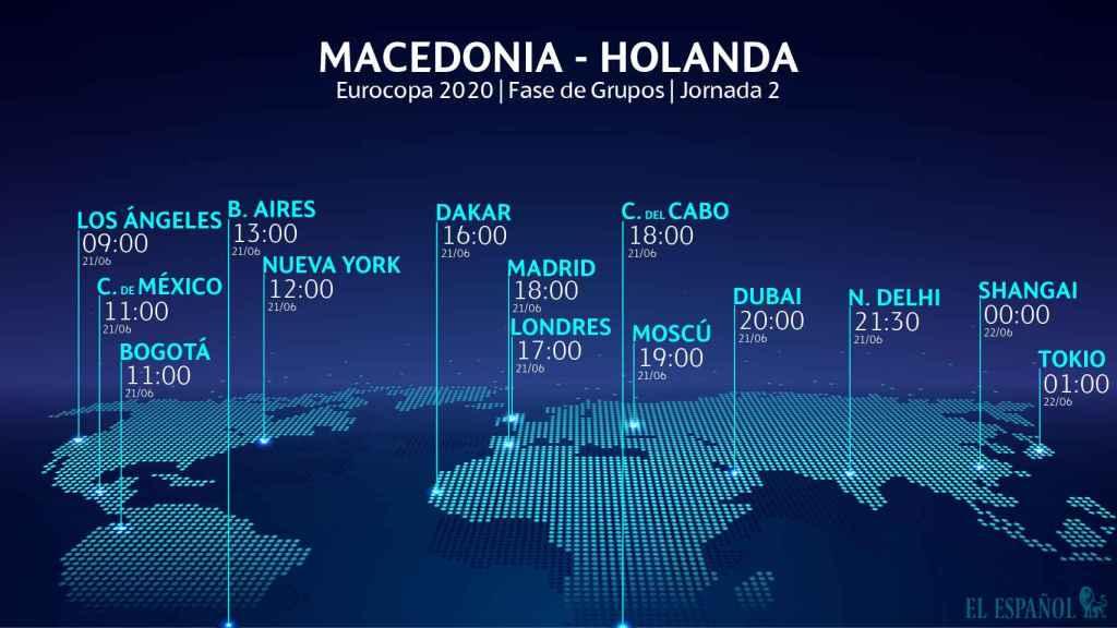 El horario del Macedonia del Norte - Países Bajos de la Eurocopa