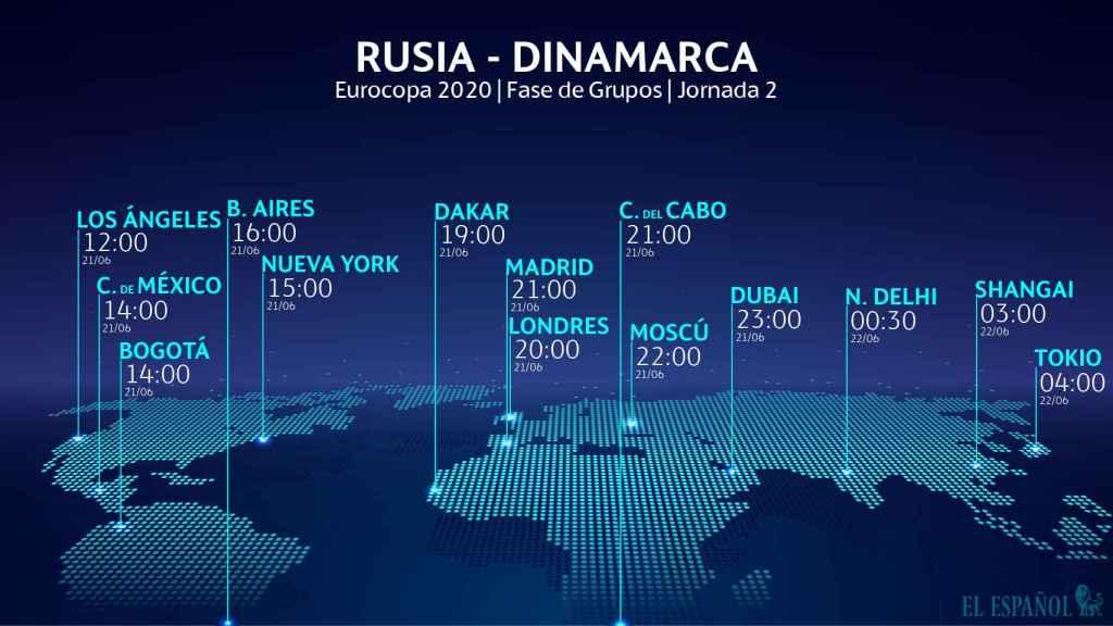 El horario del Rusia - Dinamarca de la Eurocopa
