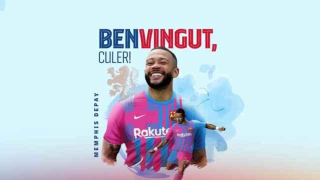 Memphis Depay, en el fotomontaje con la camiseta del Barça