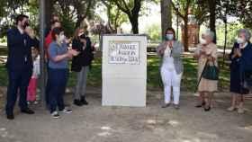 Acto de inauguración de la placa que da el nombre de Joaquín Benito de Lucas a un parque de Talavera