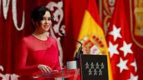 La presidenta de la Comunidad de Madrid, Isabel Díaz Ayuso durante su discurso de investidura.