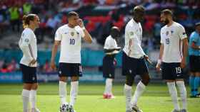 Griezmann, Mbappé, Pogba y Benzema durante un partido de Francia