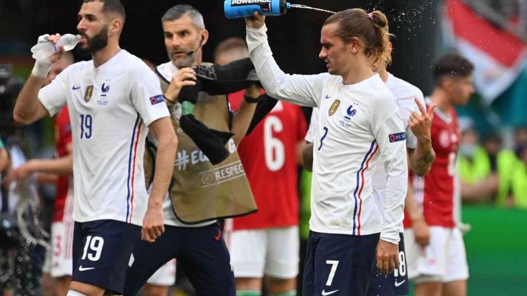 Benzema y Griezmann durante un parón con Francia