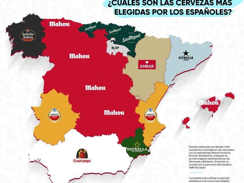 El mapa de consumo de marcas de cerveza por comunidades autónomas.