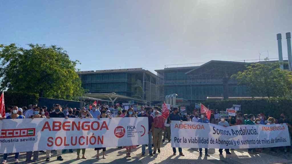 Manifestación de la plantilla de Abengoa.