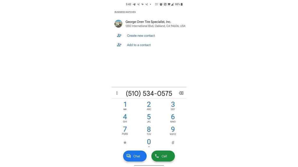 Así queda la app Teléfono de Google con el botón de chat