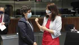 Arancha González Laya, durante la reunión de ministros de Exteriores de la UE de este lunes en Luxemburgo