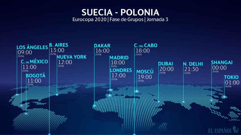 El horario internacional del Suecia - Polonia de la Eurocopa