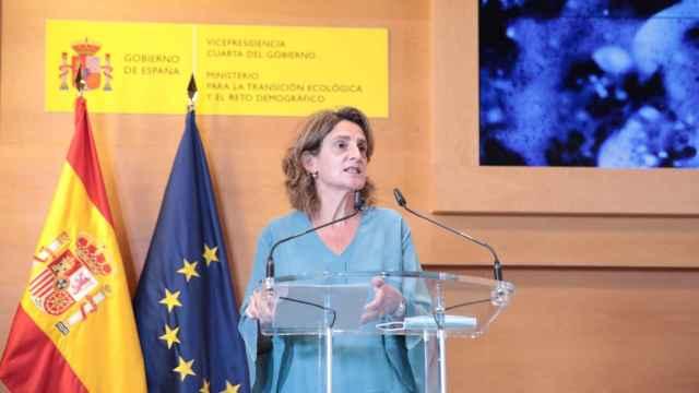 La ministra Teresa Rivera en la presentación de los planes de cuenca.