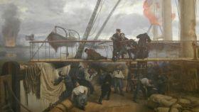 Pintura de Antonio Muñoz Degrain que refleja el momento en que Méndez Núñez cae herido.