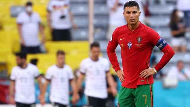 Cristiano Ronaldo tras uno de los goles de Alemania