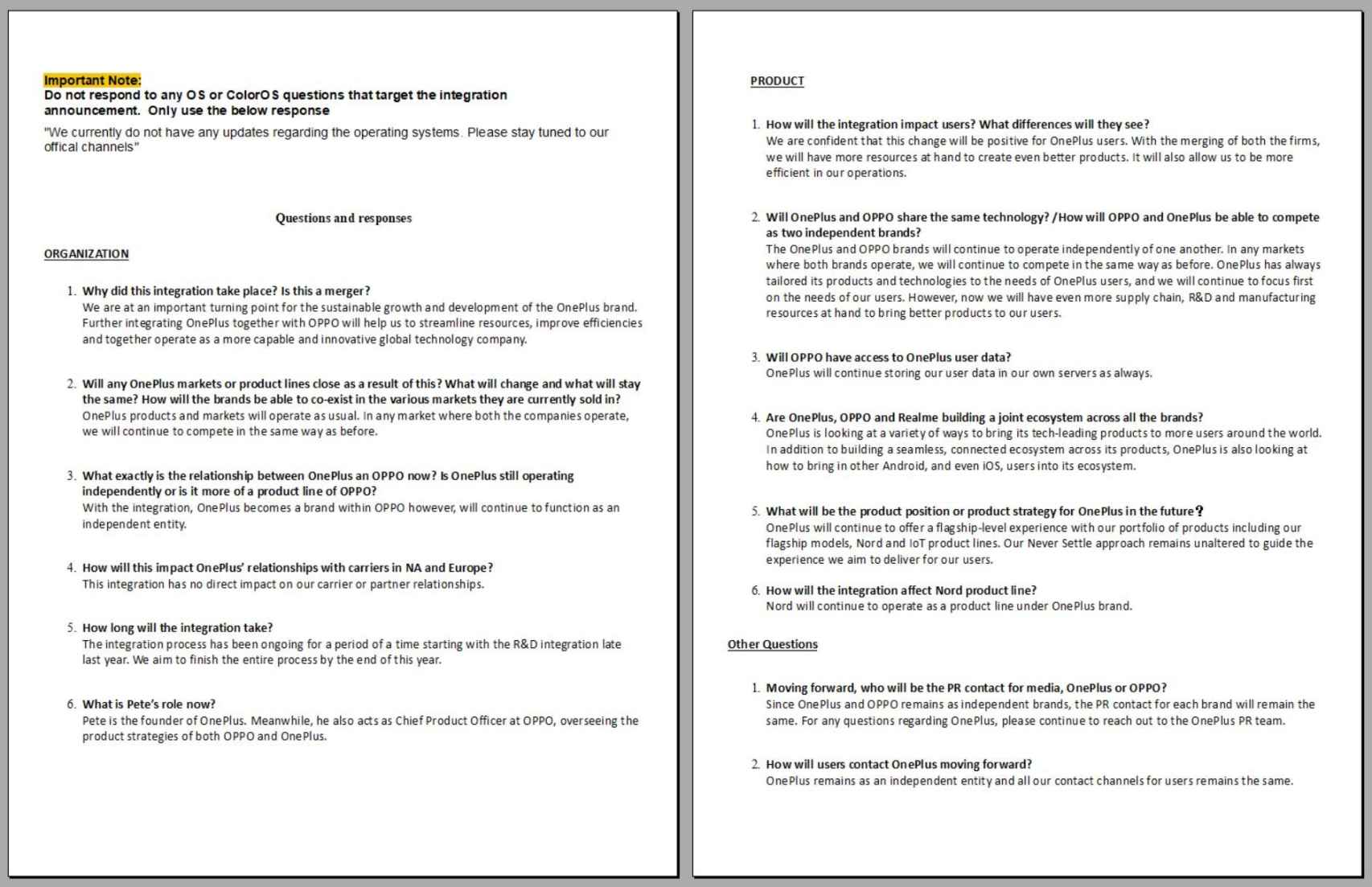 Documento de OPPO y OnePlus