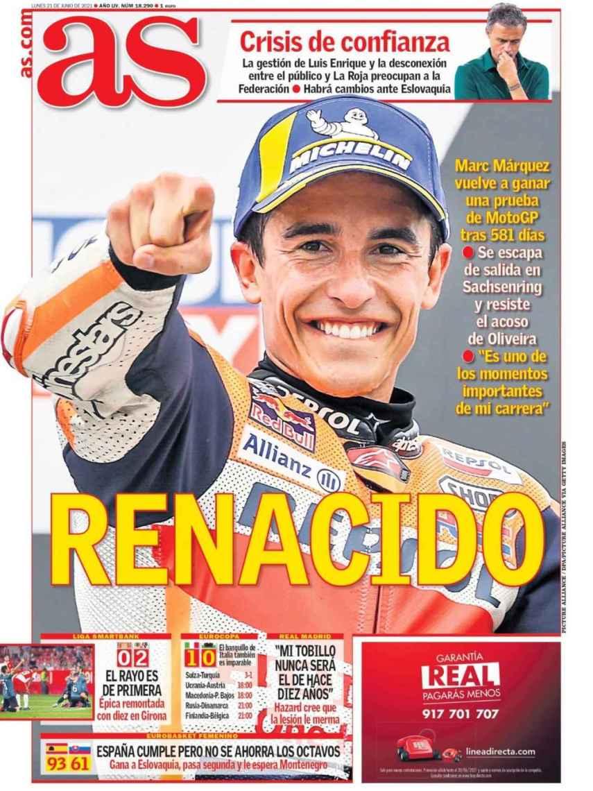La portada del diario AS (21/06/2021)