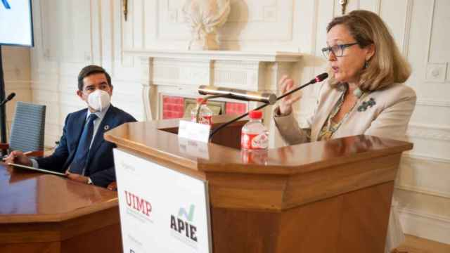 Nadia Calviño, vicepresidenta económica, en la inauguración del curso de la Apie en Santander.