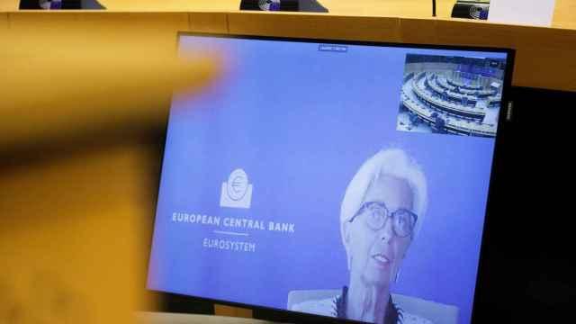 La presidenta del BCE, Christine Lagarde, durante su comparecencia virtual de este lunes en la Eurocámara