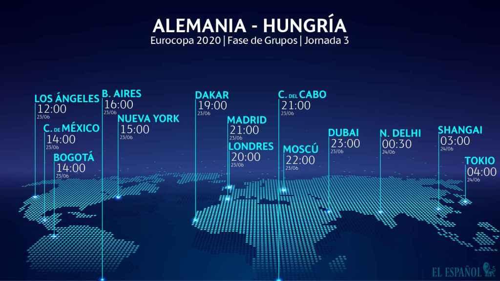 El horario internacional del Alemania - Hungría de la Eurocopa