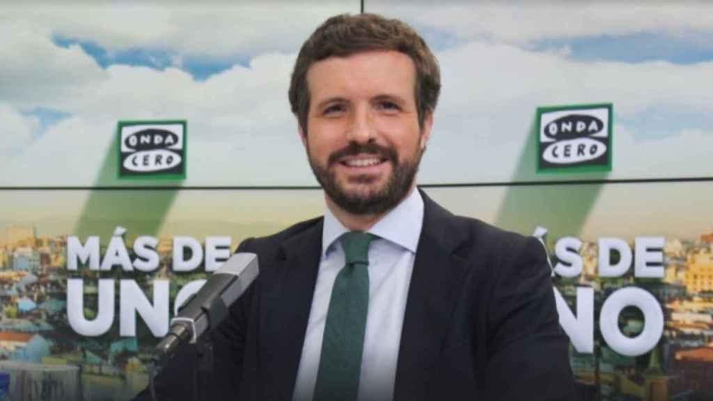 El presidente del PP, Pablo Casado, este martes en Onda Cero.