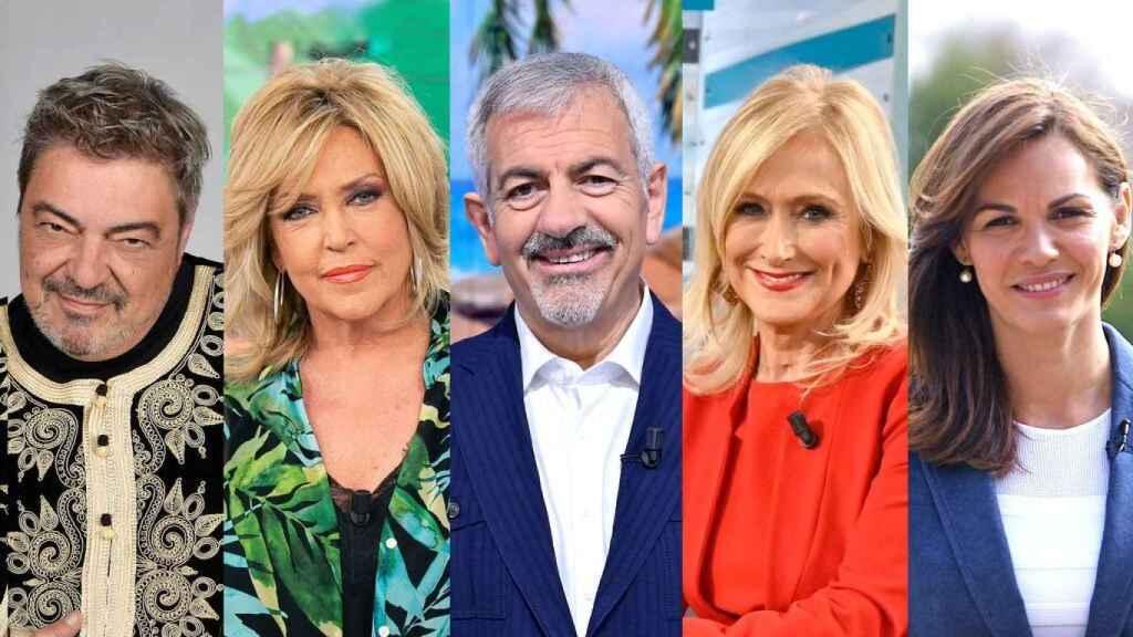 Antonio Canales, Lydia Lozano, Carlos Sobera, Cristina Cifuentes y Fabiola Martínez.