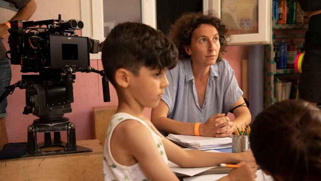 Nely Reguera en el rodaje de la película.