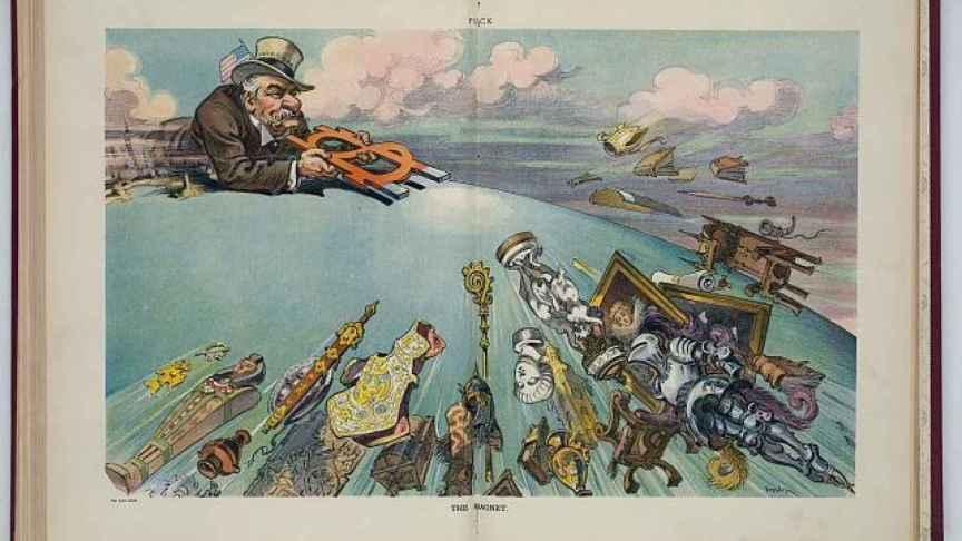 J P Morgan, uno de los magnates del arte en una caricatura de 1901