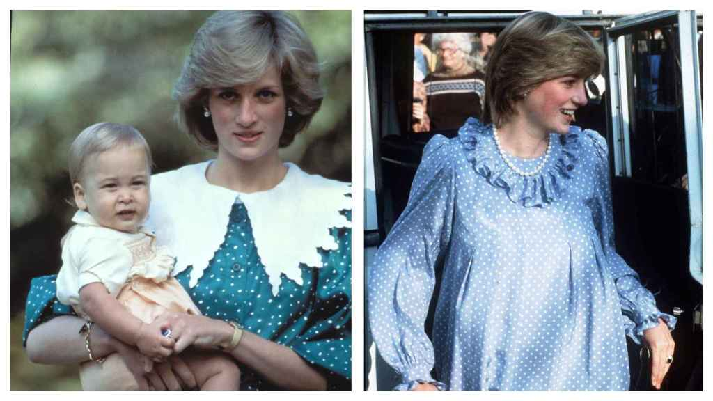 On the right, Diana with her son Guillermo, on the left, during his pregnancy.
