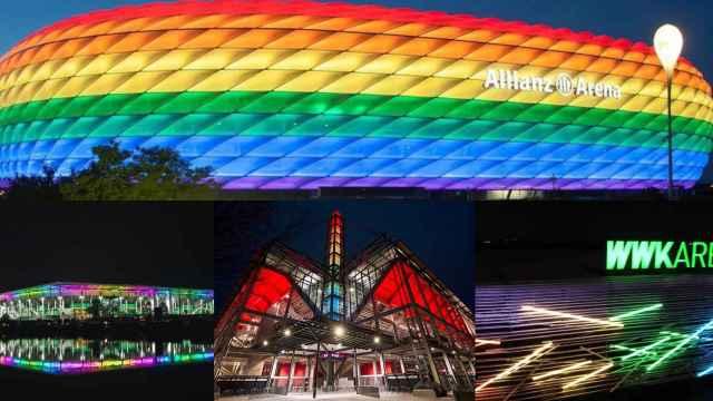 El Allianz Arena iluminado con la bandera arcoíris y los estadios alemanes que secundan su propuesta, en un fotomontaje