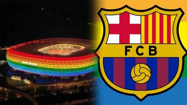 El Allianz Arena con los colores de la bandera LGTB y la publicación del Barça, en un fotomontaje