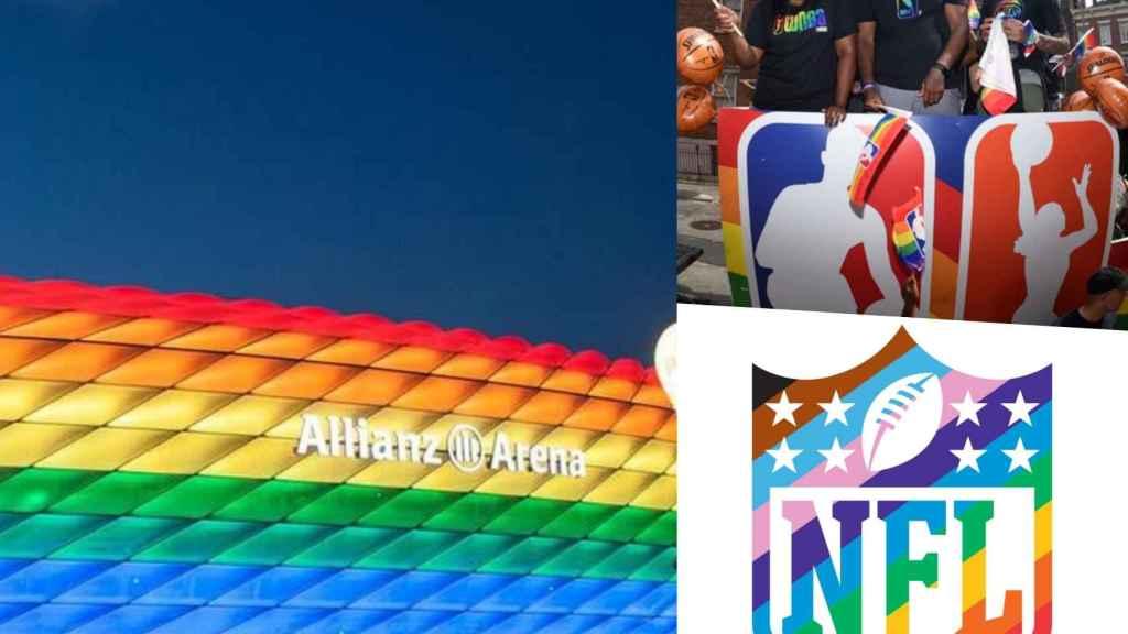 El Allianz Arena iluminado con la bandera LGTB, un acto de la NBA para promover la cultura LGTB y el cambio de logo de la NFL con el arcoíris, en un fotomontaje