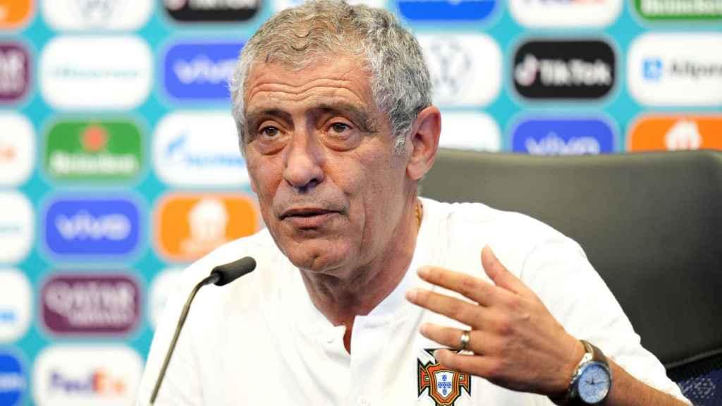 Fernando Santos, en rueda de prensa con la selección de Portugal
