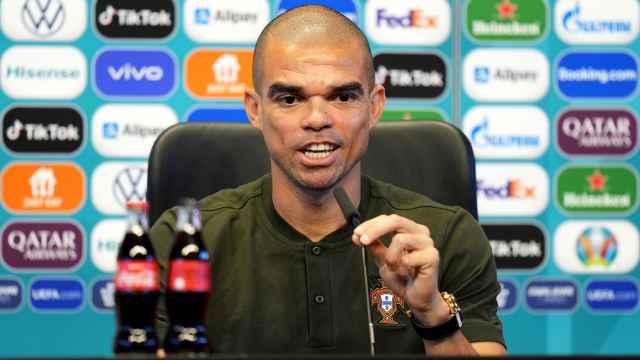 Pepe, en rueda de prensa con la selección de Portugal