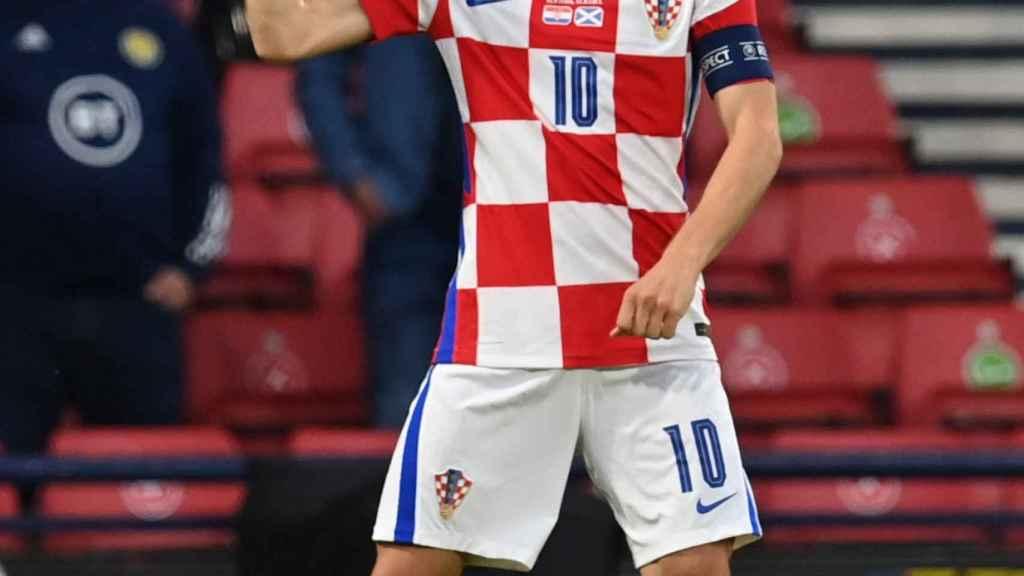 Luka Modric celebra su gol con la selección de Croacia ante Escocia en la Eurocopa 2020
