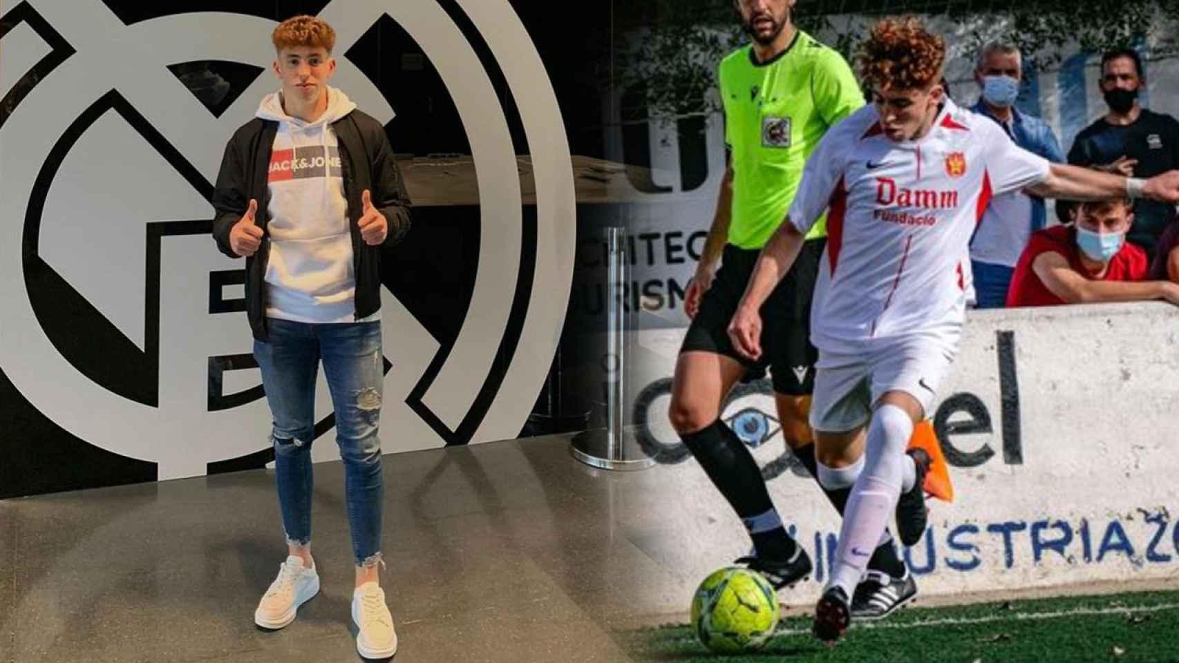 Víctor Muñoz, posando como jugador del Real Madrid y en su anterior etapa en el Damm en un fotomontaje